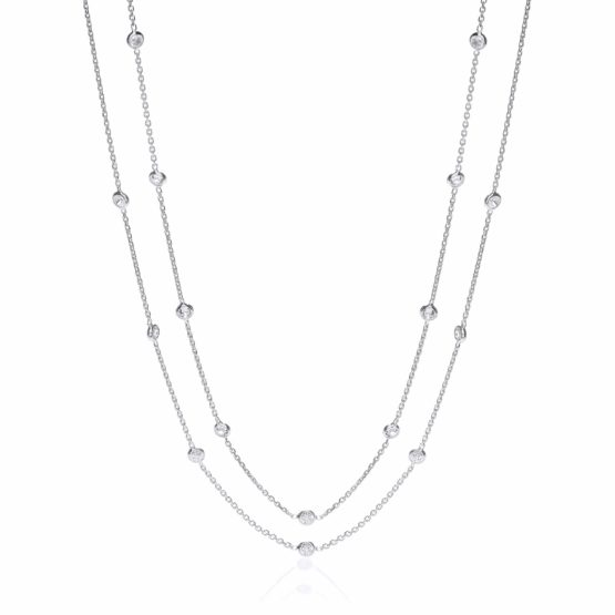 925 Sterling Silver Rubover 23 Cz's Necklace 38″