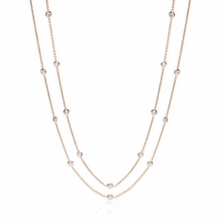 Gold Coated Rubover 23 Cz's Necklace 38""