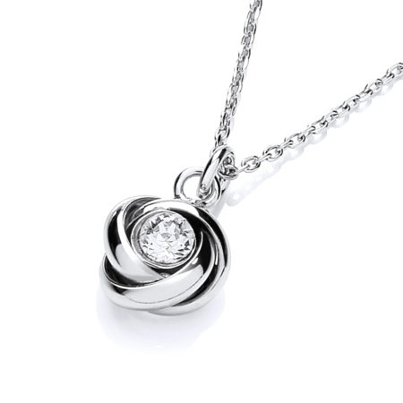 "925 Sterling Silver Knot with Cz in the Centre Necklace 17""/43cm"