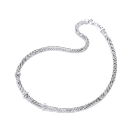 "925 Sterling Silver Mesh with Cz's Necklace 17""/43cm"