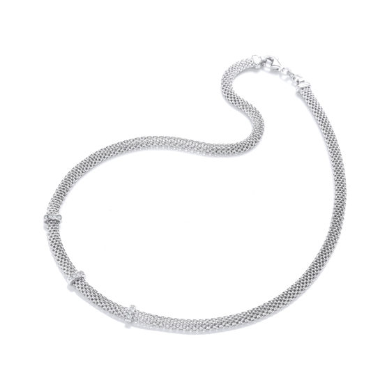925 Sterling Silver Mesh with Cz's Necklace 17″/43cm