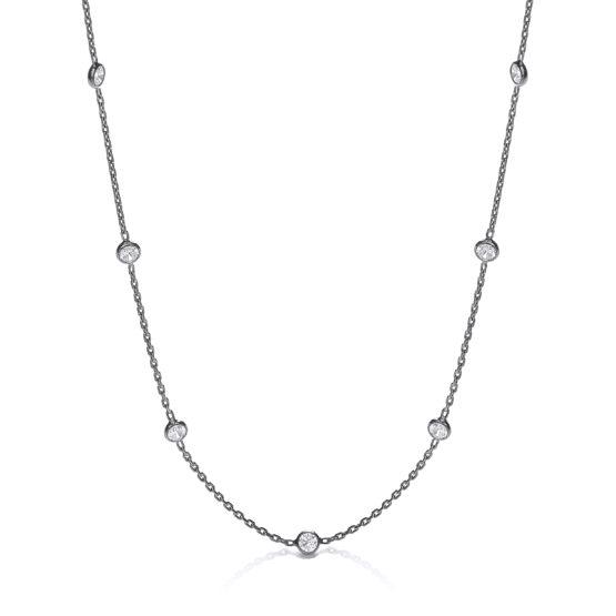Ruthenium Coated Rubover 11 Cz's Necklace 18″