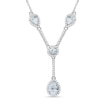 925 Sterling Silver Tear Drops & Round Cz's Necklace 18""