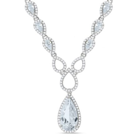 925 Sterling Silver Pear Shaped Drop Set Cz's Necklace 18""