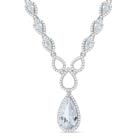 925 Sterling Silver Pear Shaped Drop Set Cz's Necklace 18″