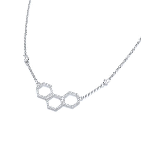 Honeycomb Style Pendant 925 Sterling Silver Cz Necklace