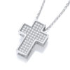 Swarovski Zirconia Cross Pendant Necklace Platinum Plated Sterling Silver Mirco Pave with Adaptable 18-16 inch Chain Length