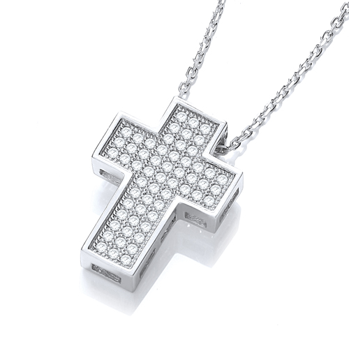 Simulated Diamond Sterling Silver Cross Pendant Necklace