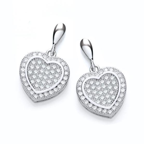 Micro Pave' Heart Drop Earring