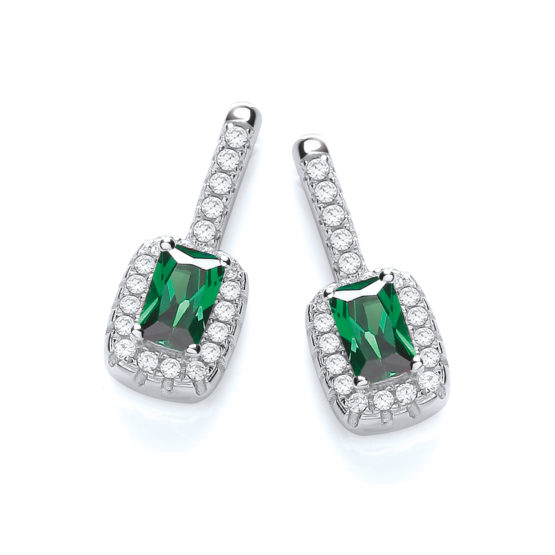 Micro Pave' Fancy Drop Earring with Small Green Cz