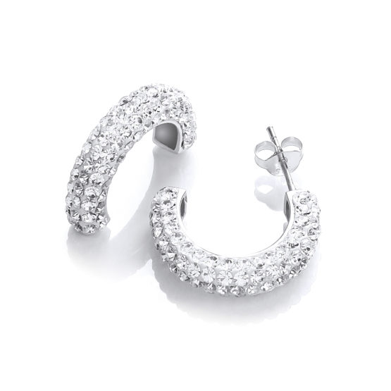 Half Hoop Stud with White Cz