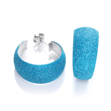 Moondust Finish Blue Colour Rh.Plated Earrings