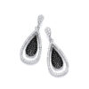 Micro Pave' Black & White CZ Drop Earrings