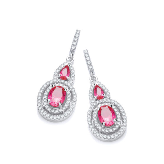Micro Pave' Red & White CZ Drop Earrings