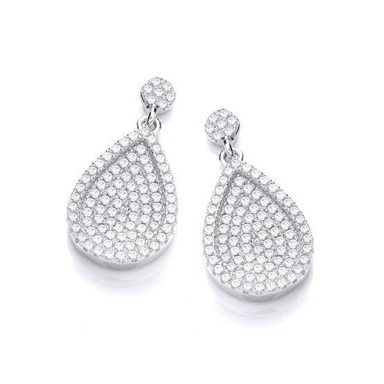 Micro Pave' Pear Shape Cz Drop Earrings