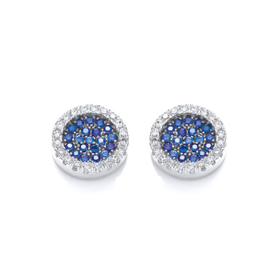Micro Pave' Round Blue Cz Stud Earrings
