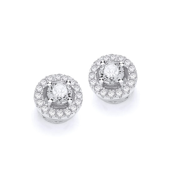 Micro Pave' Halo Style Cz Earrings