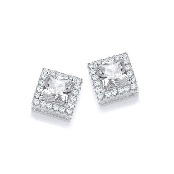 Micro Pave' Princess Cut Centre Cz Stud Earrings
