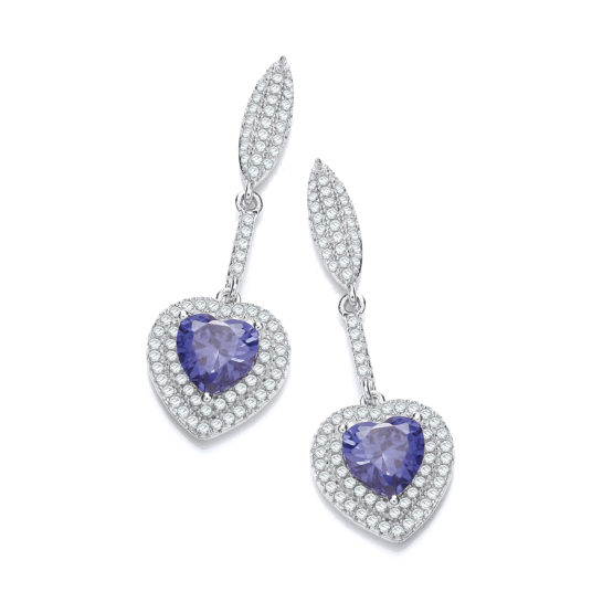 Micro Pave' Blue Heart Drop Cz Earrings