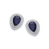 Micro Pave' Blue Pear Shape Cut Cz Stud Earrings