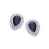 Micro Pave' Blue Pear Shape Cut Cz Stud Earrings