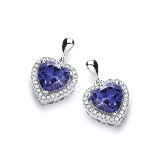 Micro Pave' Blue Heart Cz Drop Earrings
