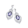 Micro Pave' Blue Tear Drop & Clear Cz Earrings