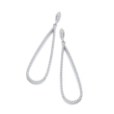 White Gold Finish Created Diamond drop Earrings Wedding Engagement Jewelry Women