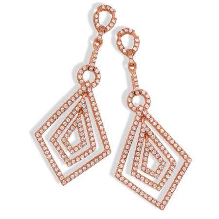 DAYSI 14K Rose Gold Drop Earrings with White CZ Diamonds GP
