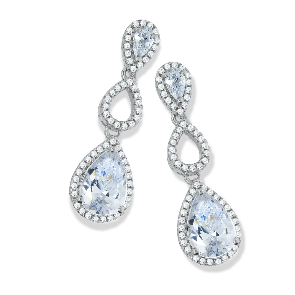 Wedding Earrings White Gold: White Gold Finish Created Diamond Drop Earrings Wedding