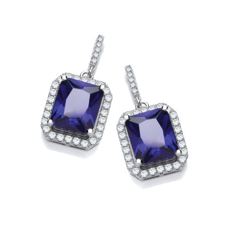 JJAZ 925 Sterling SILVER SAPPHIRE BLUE HALO Ladies Women EARRINGS Valentines day