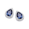 JJAZ 925 Sterling SILVER SAPPHIRE Ladies HALO STUD EARRINGS Women Valentines day