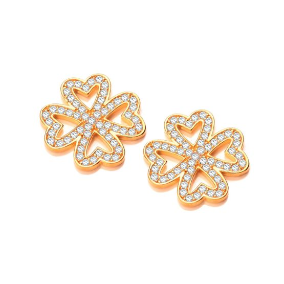 9ct Gold Finish STUD EARRINGS Created Diamond Wedding Engagement Women Jewellery