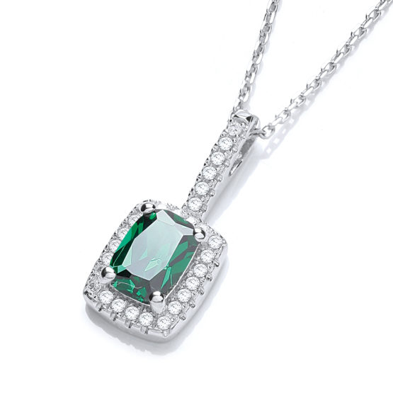 JJAZ Created Emerald Diamond Necklace 925 Sterling Silver Women Ladies Pendant