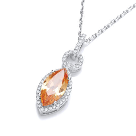 CAROLINE Champagne Zirconia Pendant Necklace made with Swarovski®Crystals in 14K White Gold Overlay