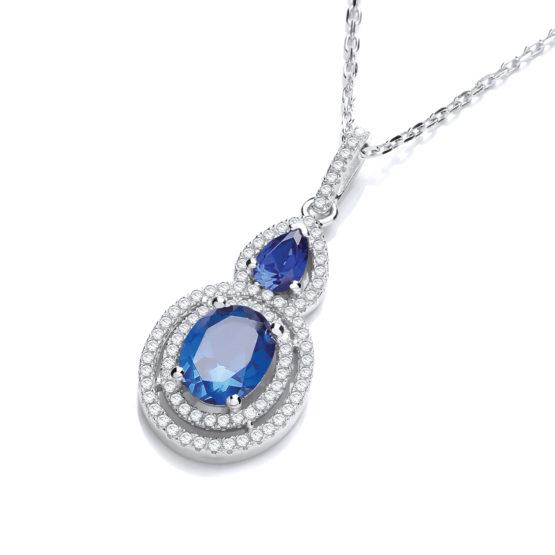 JJAZ BLUE SAPPHIRE CREATED DIAMOND SILVER NECKLACE WOMEN FINE JEWELLERY NECKLACE