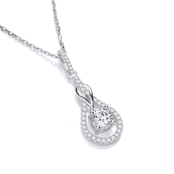 JJAZ White Topaz Necklace Created Diamond Pendant 925 Sterling Silver Women