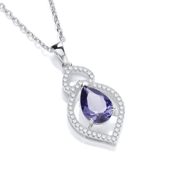 JJAZ Blue Topaz Silver Pendant Necklace