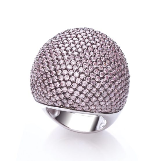 JJAZ 925 Sterling Silver White Gold Plated CZ Champagne Crystal Cocktail Ring