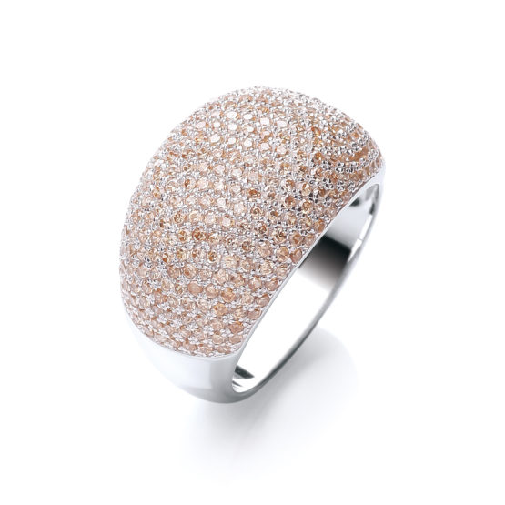 JJAZ CZ Champagne Crystal 925 Sterling Silver Ladies Cocktail Ring with Platinum
