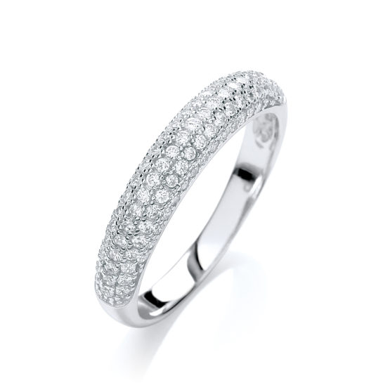 JJAZ Created Diamond Eternity Ring Platinum on 925 Sterling Silver Women Wedding