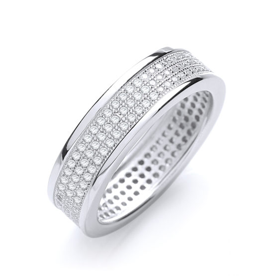 JJAZ 925 Sterling Silver CZ Micro Pave Ladies Eternity Ring Women Wedding Engage