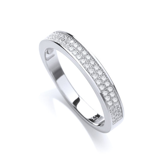 JJAZ Created Diamond 925 Sterling Silver Eternity Ring Women Wedding Engagement