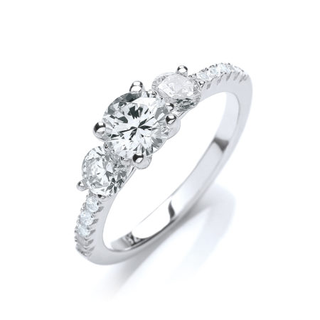 1.20ct CZ Crystal White Gold Finish Engagement Ring on 925 Sterling Silver