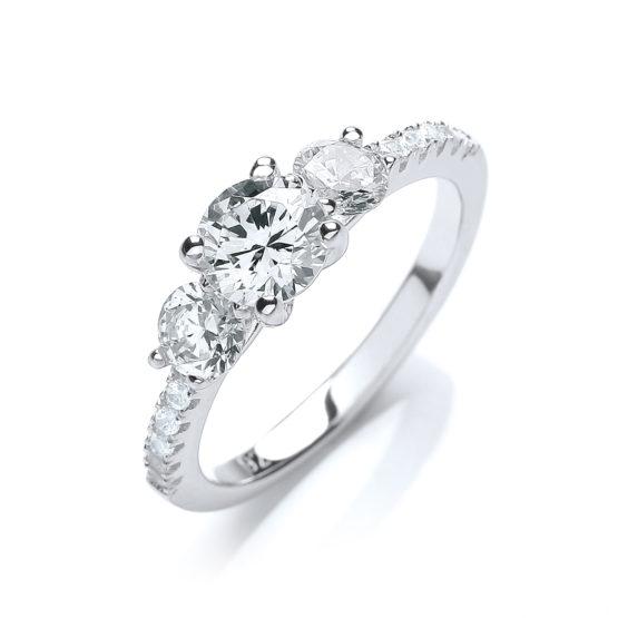 1.20ct Signity Diamond Engagement Ring 14K Gold Overlay