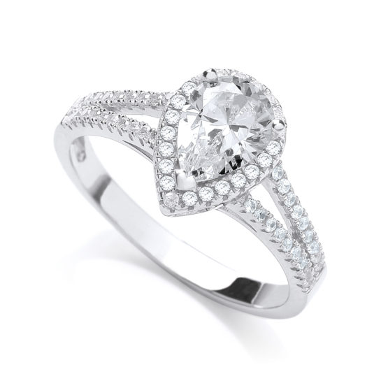 JJAZ 925 Sterling Silver Drop Cut Diamond Pave Ladies Ring Women Wedding Engage