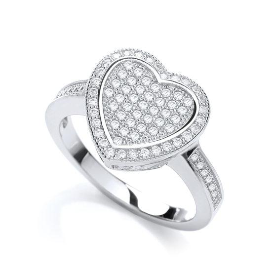 JJAZ 925 Sterling Silver CZ Micro Pave Ladies Heart Ring Women Wedding Engage