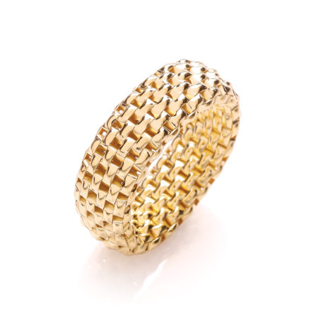 Designer 925 Sterling Silver Mesh Contemporary Gold Ring Women Jewellery