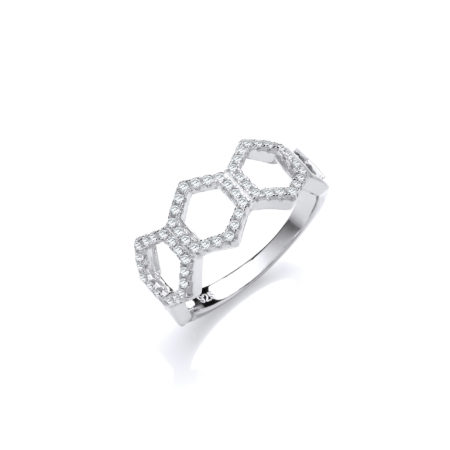 Arlene 14K Gold Sterling Silver Ring Honeycomb Design