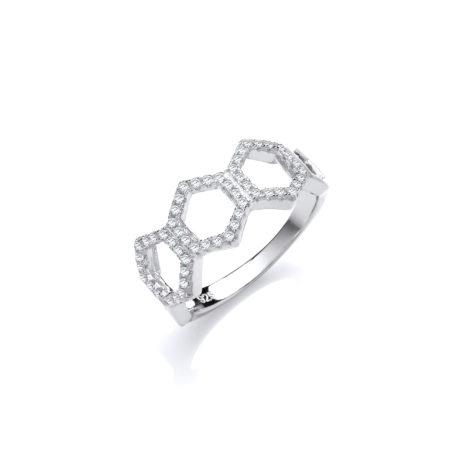 Arlene Swarovski Zirconia Platinum Plated Sterling Silver RING Honeycomb Style